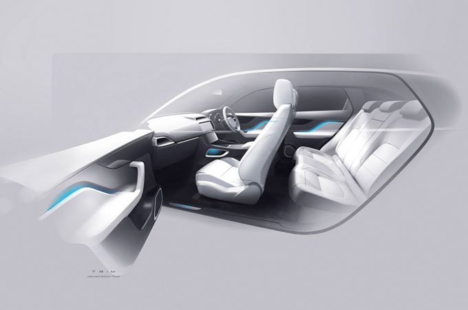 A early design of an interior of a Jaguar vehicle.
