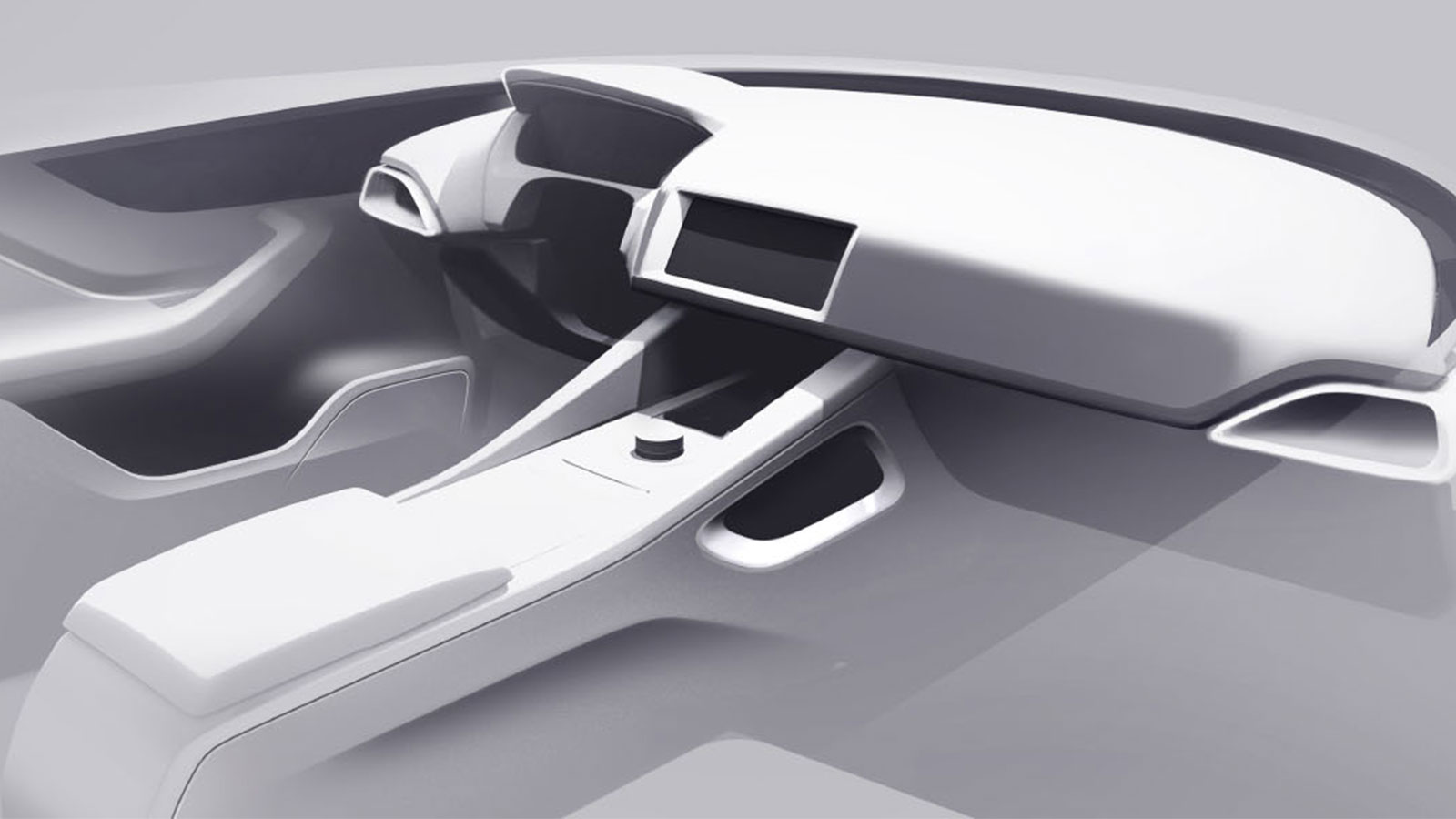 A CGI image of a early design for the interior of a Jaguar vehicle.