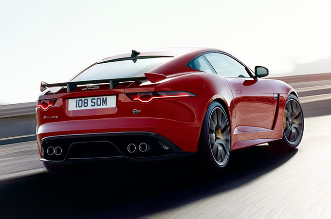 Lightweight Jaguar F-Type SVR Coupé Driving Along Road