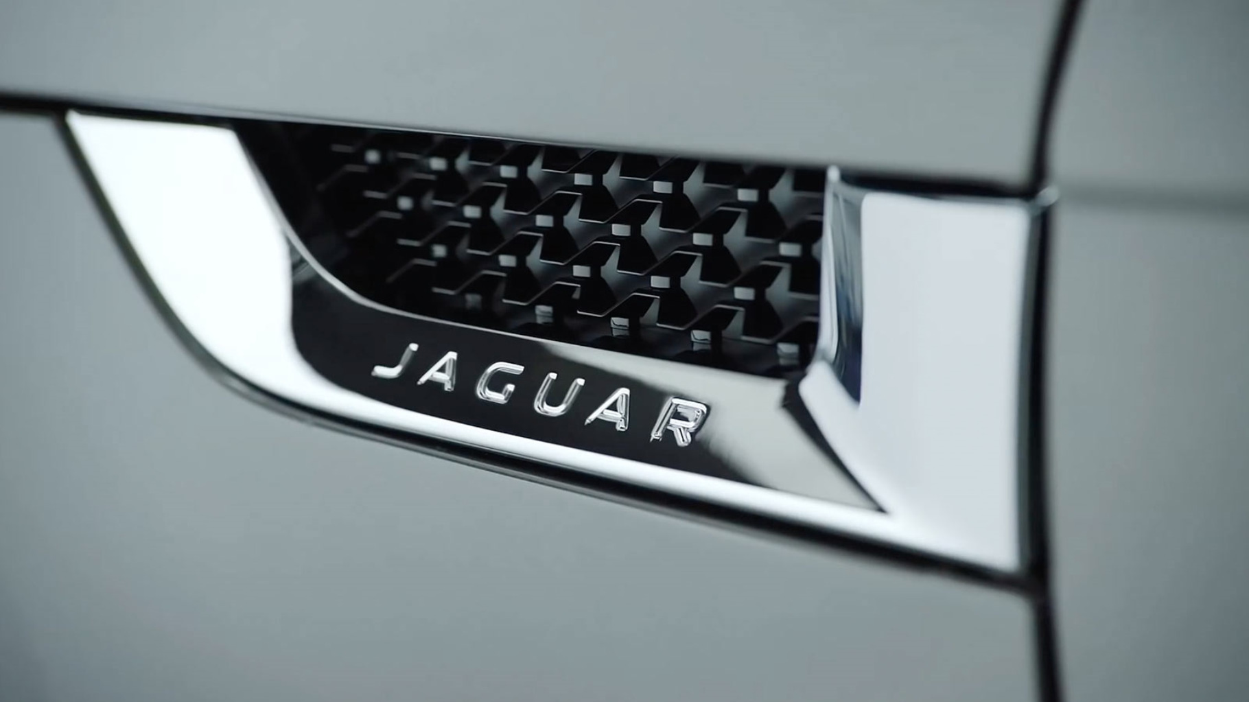 A close up of a jaguar f-type side vent.