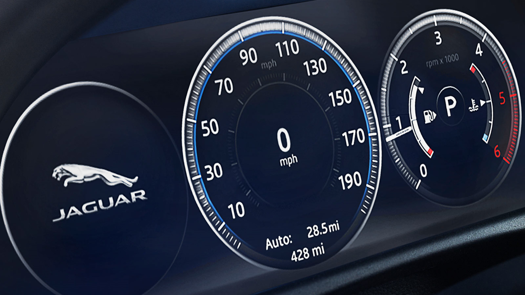 Jaguar XF Interactive driver display.