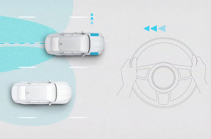 Jaguar XF Overhead View Of Blind Spot Assist Detecting Approaching Vehicle.