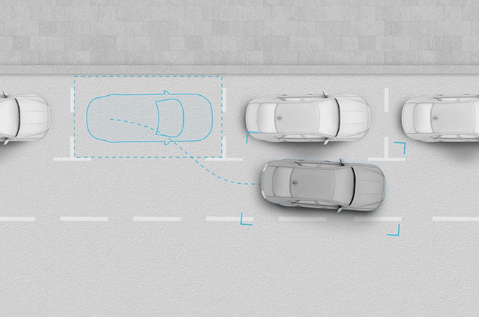 Jaguar XF Overhead View Of Advanced Parking Aids Assisting With Parallel Parking.