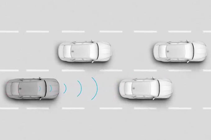 Jaguar XF Overhead View Of Stereo Vision Camera Detecting Potential Collision And Applying Autonomous Emergency Braking.