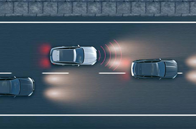 Jaguar XJ Autonomous Emergency Braking Computer Generated Image.