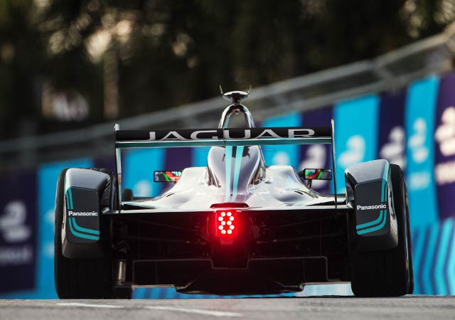 Jaguar Formula E racing on track