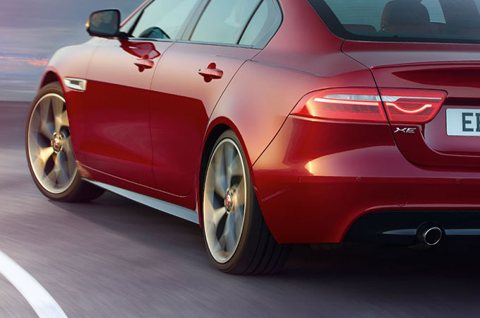 Jaguar XE's taut rear haunches.