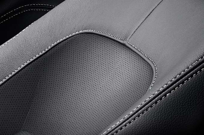 High quality cloths and leathers, in Jaguar XE cabin.