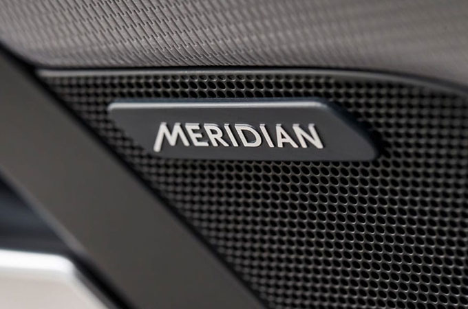 Audio Meridian Embossed Logo Up Close.