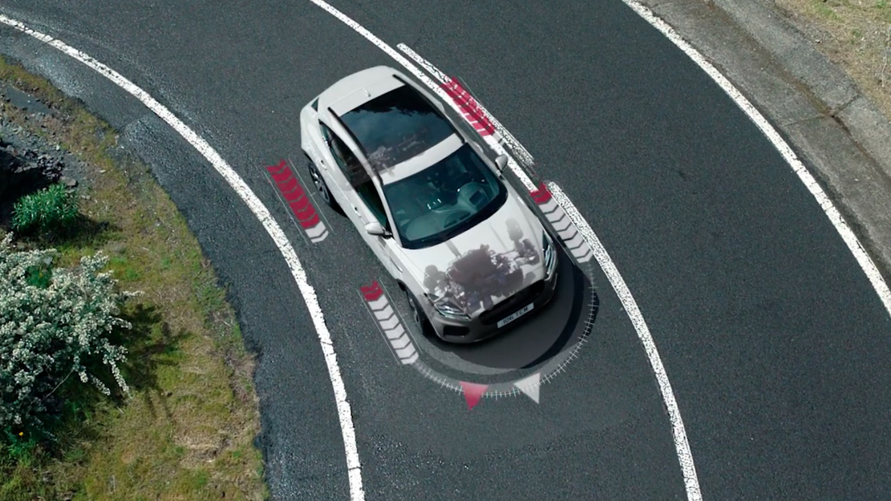 Transparent view of Jaguar E-Pace showing the way the active driveline operates.