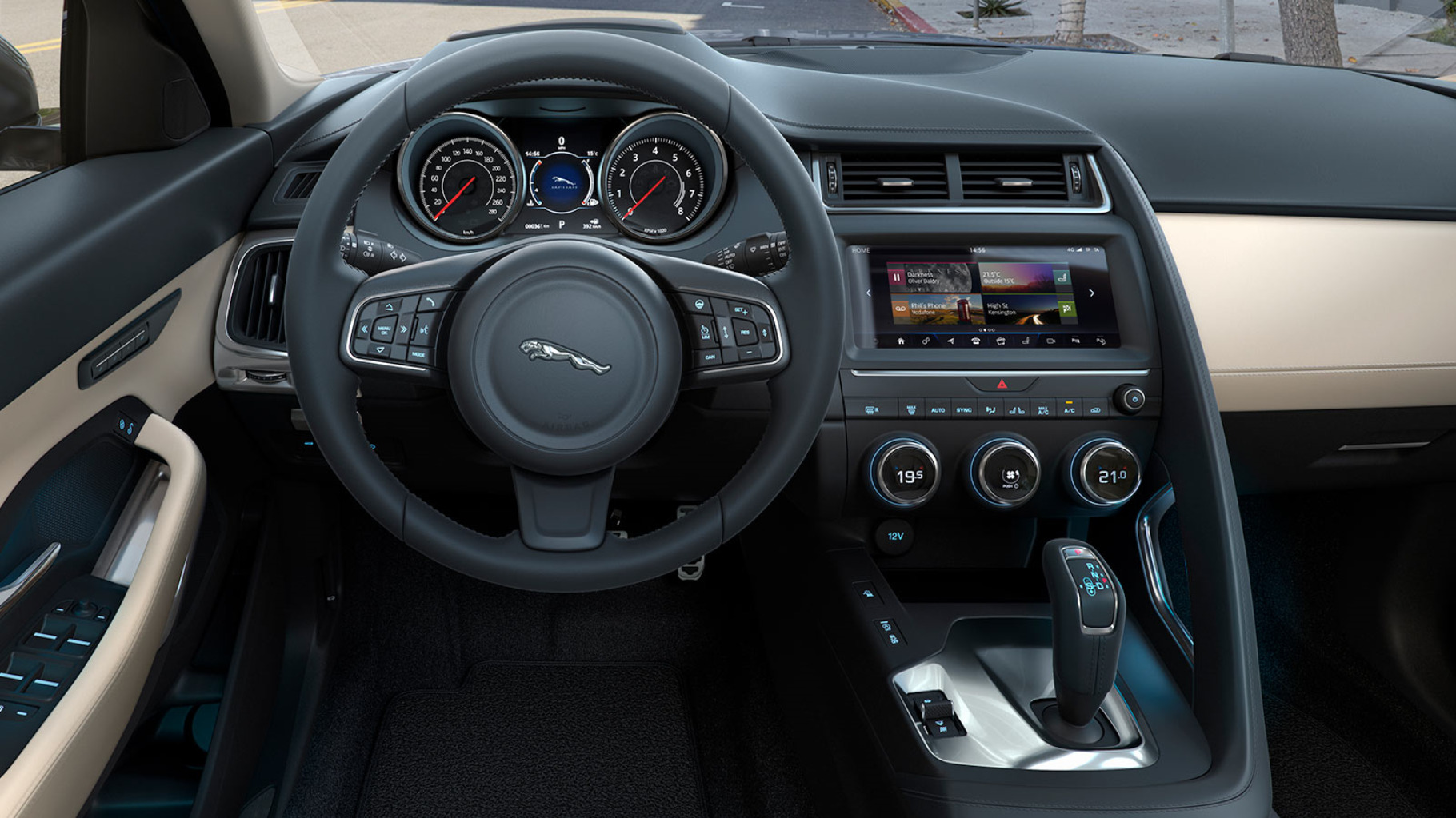 Close-up of Jaguar E-Pace Cockpit.