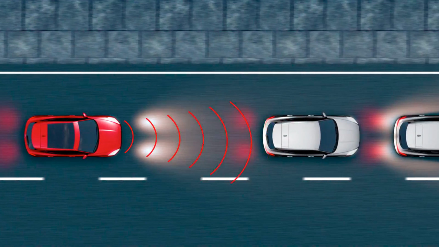 Diagram showing Jaguar E-Pace Emergency Braking System detecting a potential collision.