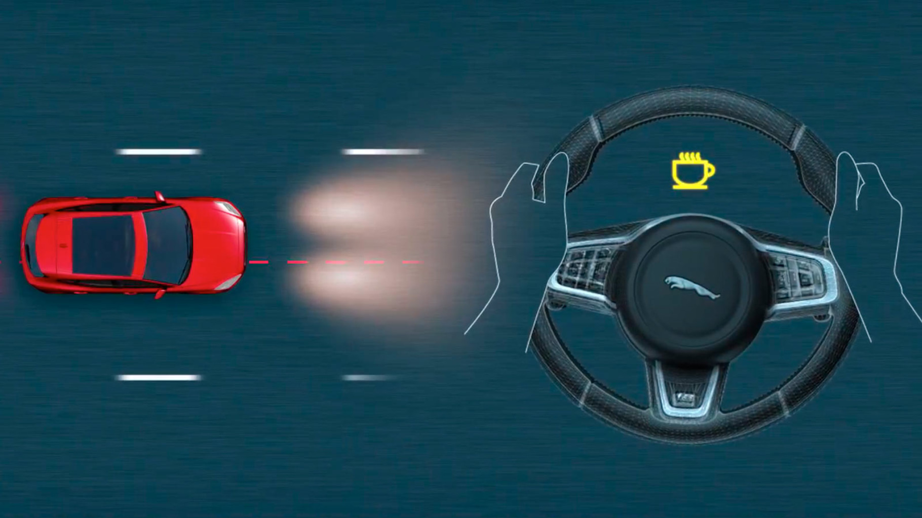 A diagram of Jaguar E-Pace Driver Condition Monitor detecting the driver is drowsy and alerting them to take a break.