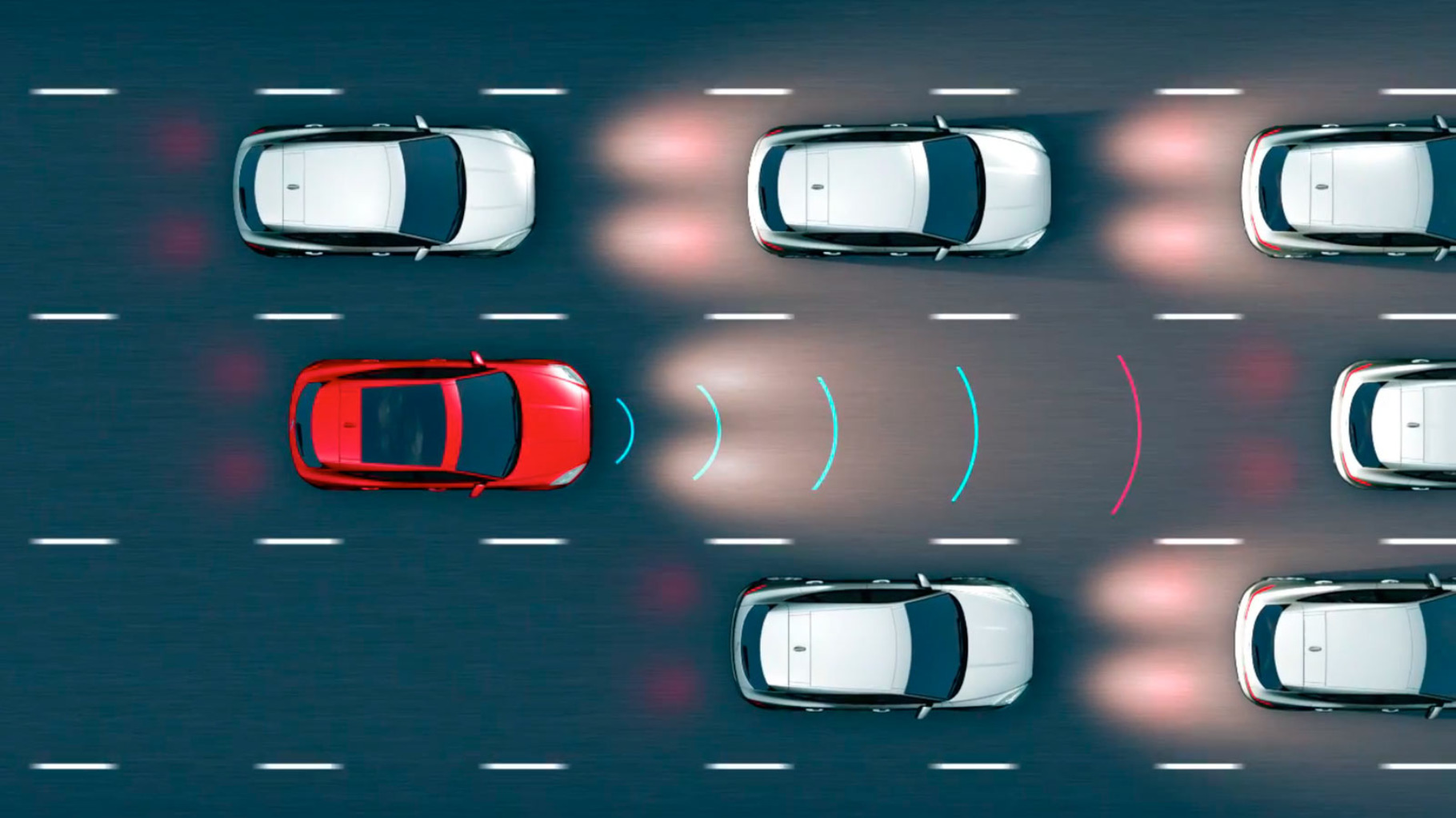 A diagram of the Jaguar E-Pace Adaptive Cruise Control mainting a safe distance from the car in front.