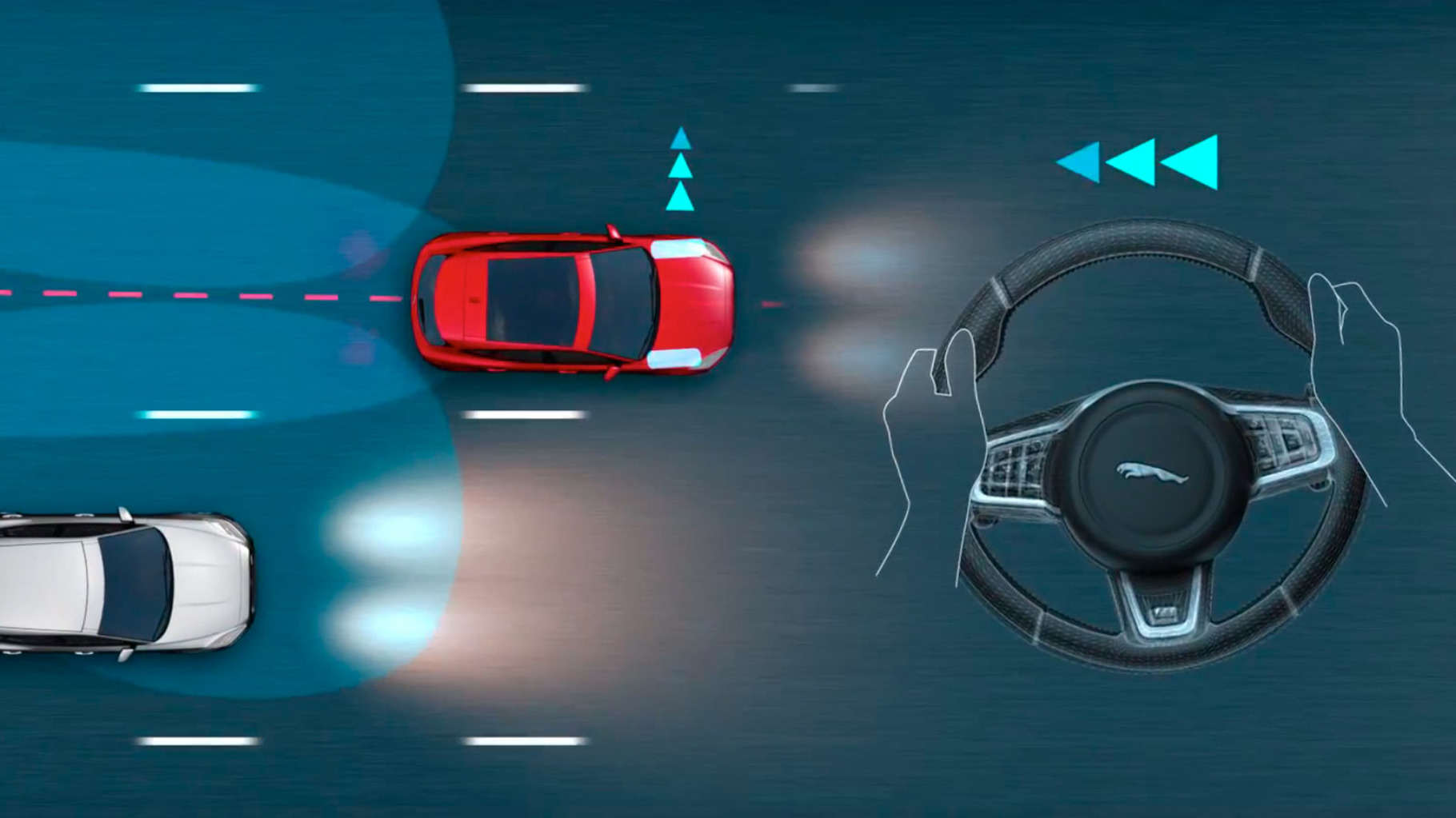 A diagram of the Jaguar E-Pace Blindspot Assist monitoring blind spots for any potential obstacles.