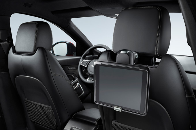 Jaguar E-Pace Click and Play mounted on rear of headrest.
