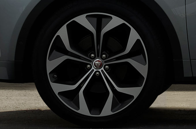A close up of a Jaguar E-Pace wheel.