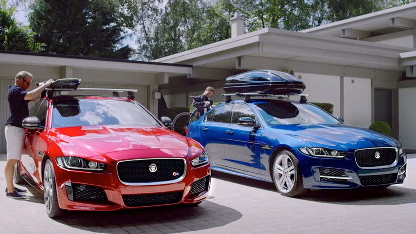 Red and blue Jaguars parked next to one another with the sunshine on them.