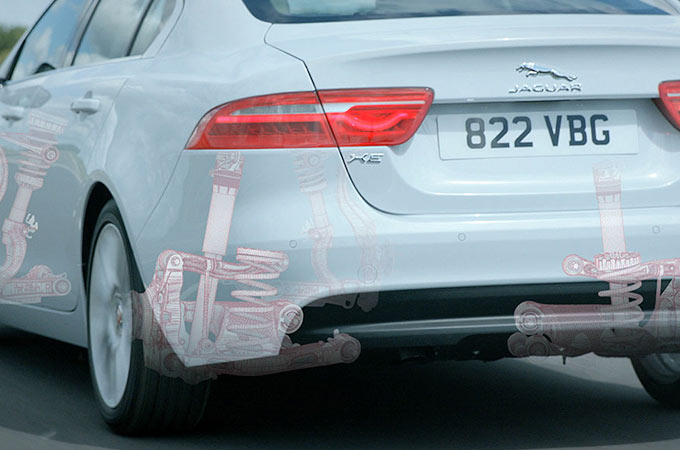 Computer Generated Image of Jaguar XE's suspension.