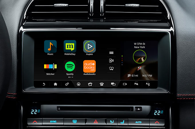 Jaguar's InControl Apps on Touchscreen.