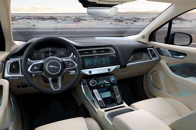 Jaguar I-PACE front interior view.