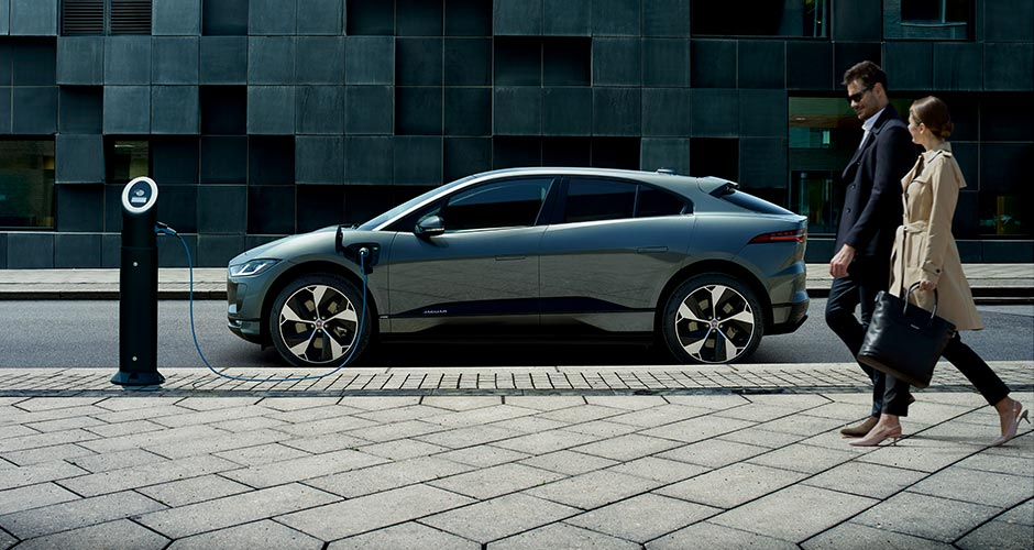 Jaguar All Electric I-PACE charging on street