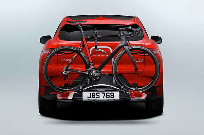 I-Pace With Bicycle On Rear Mounted Cycle Carrier.