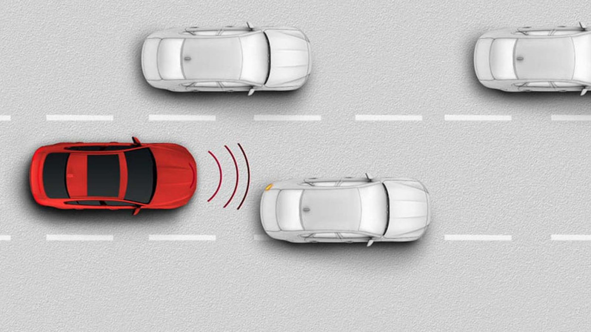 Frame from Jaguar's Autonomous Emergency Braking information video.