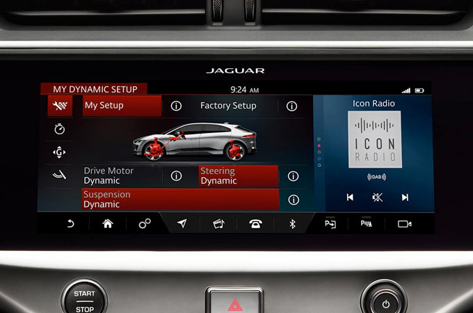 Jaguar I-Pace Configurable Dynamics Screen.