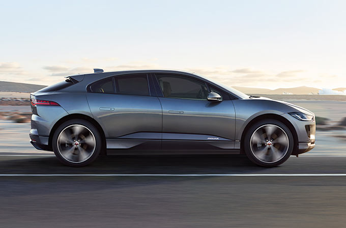 Jaguar I-Pace Side while driving.