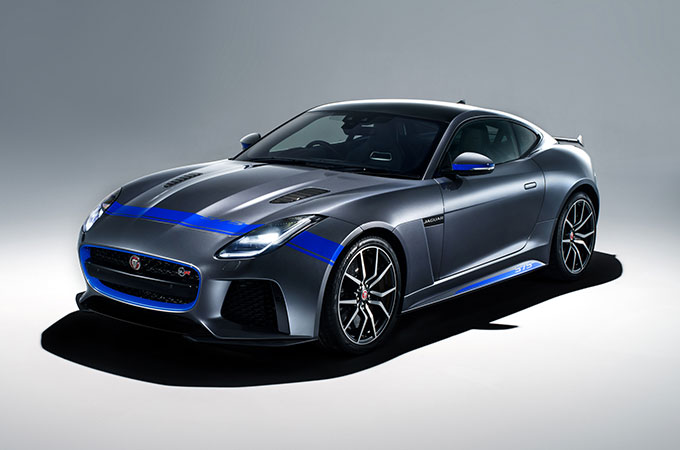 Grey F-Type with blue lines.