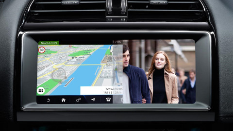 Jaguar Dual View Screen for both Driver and Passenger to enjoy different media on the same screen