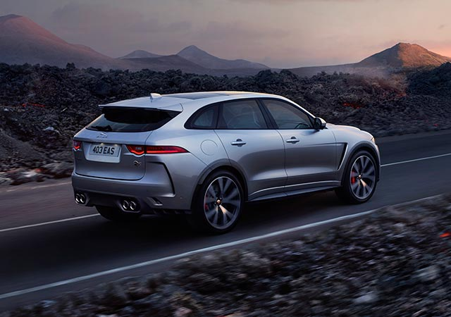 Jaguar FPACE SVR Model driven on desert open road