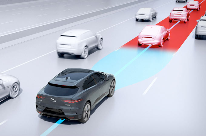 Jaguar I-Pace On Road Using Adaptive Cruise Steering Assist .