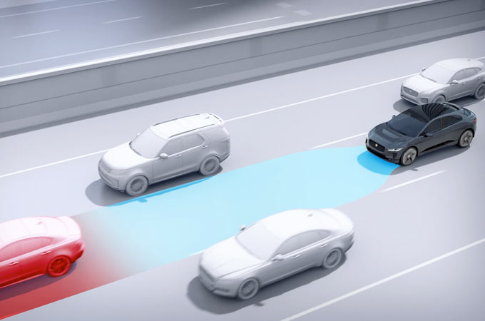 Video Of Adaptive Cruise Control Detecting Vehicles Ahead And Slowing Jaguar I-PACE