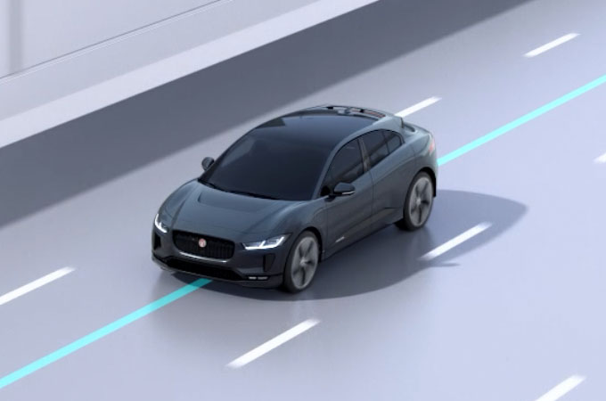 Video Of Jaguar I-PACE Demonstrating Lane Keep Assist.