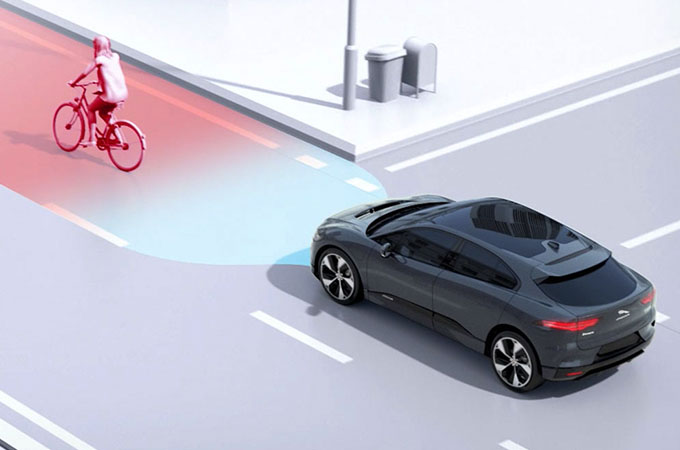 I-Pace Emergency Braking Example Image.