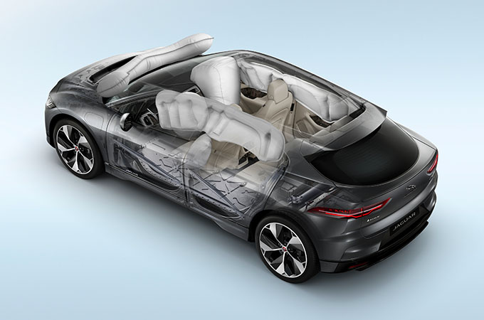 Transparent Image Of Jaguar I-Pace Displaying Airbag Positions.