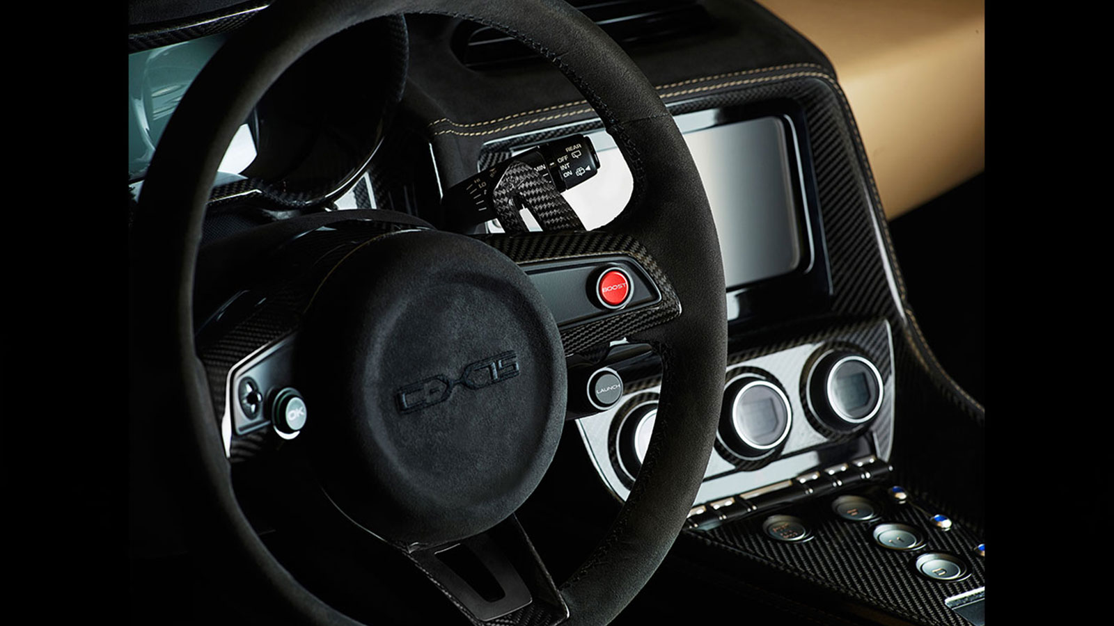 Black Jaguar interior Steering wheel.
