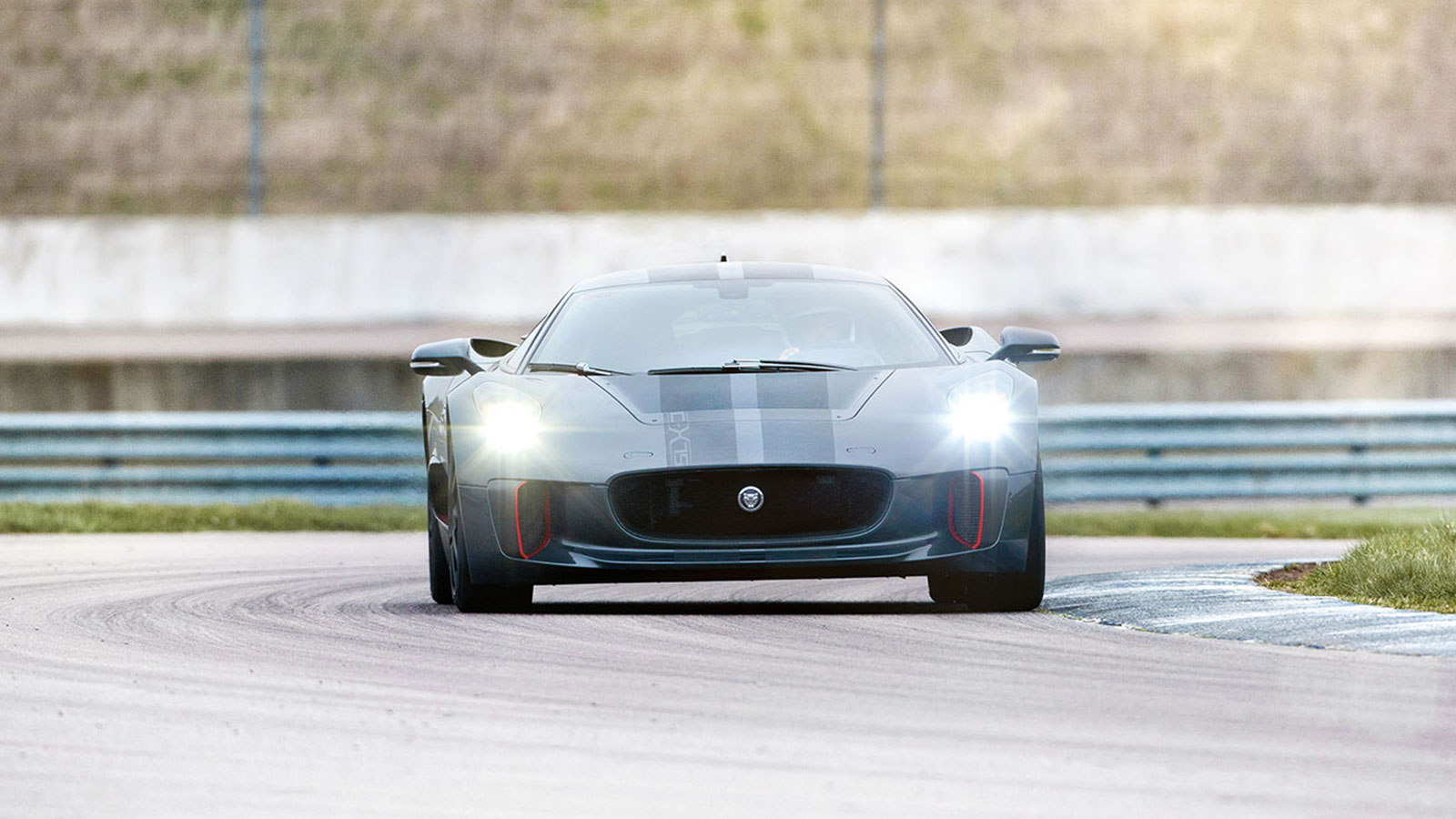 Jaguar C-X75 Driving on a race track.