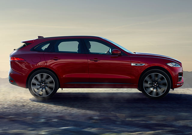 Red Jaguar F-PACE Side View Dynamic Design