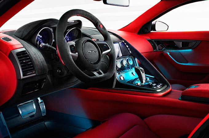 Red interior of the Jaguar C-X16 concept car.