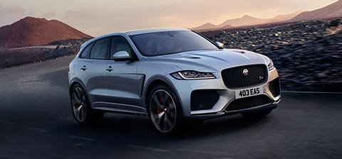 Jaguar Grey F-PACE SVR driven on road