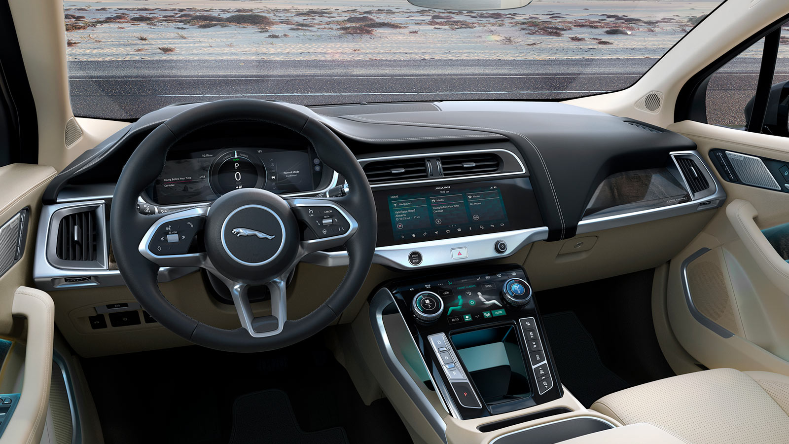 Jaguar I-Pace Front Interior Wheel And Screens.
