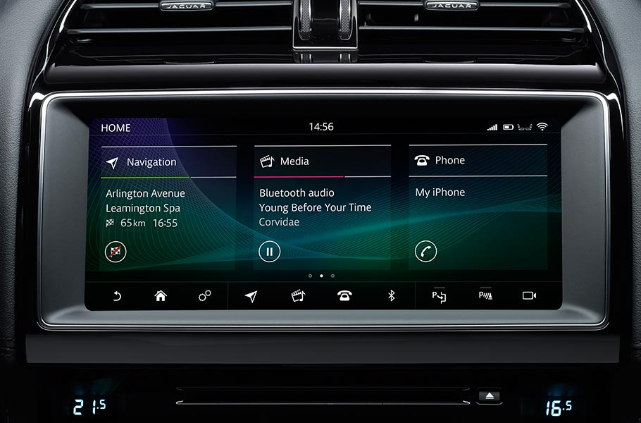 Jaguar InControl Touch Pro screen interface