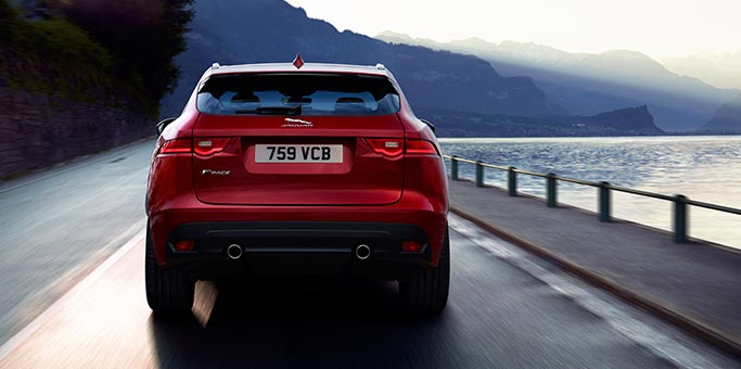 Rear view of Red Jaguar F-PACE R-SPORT