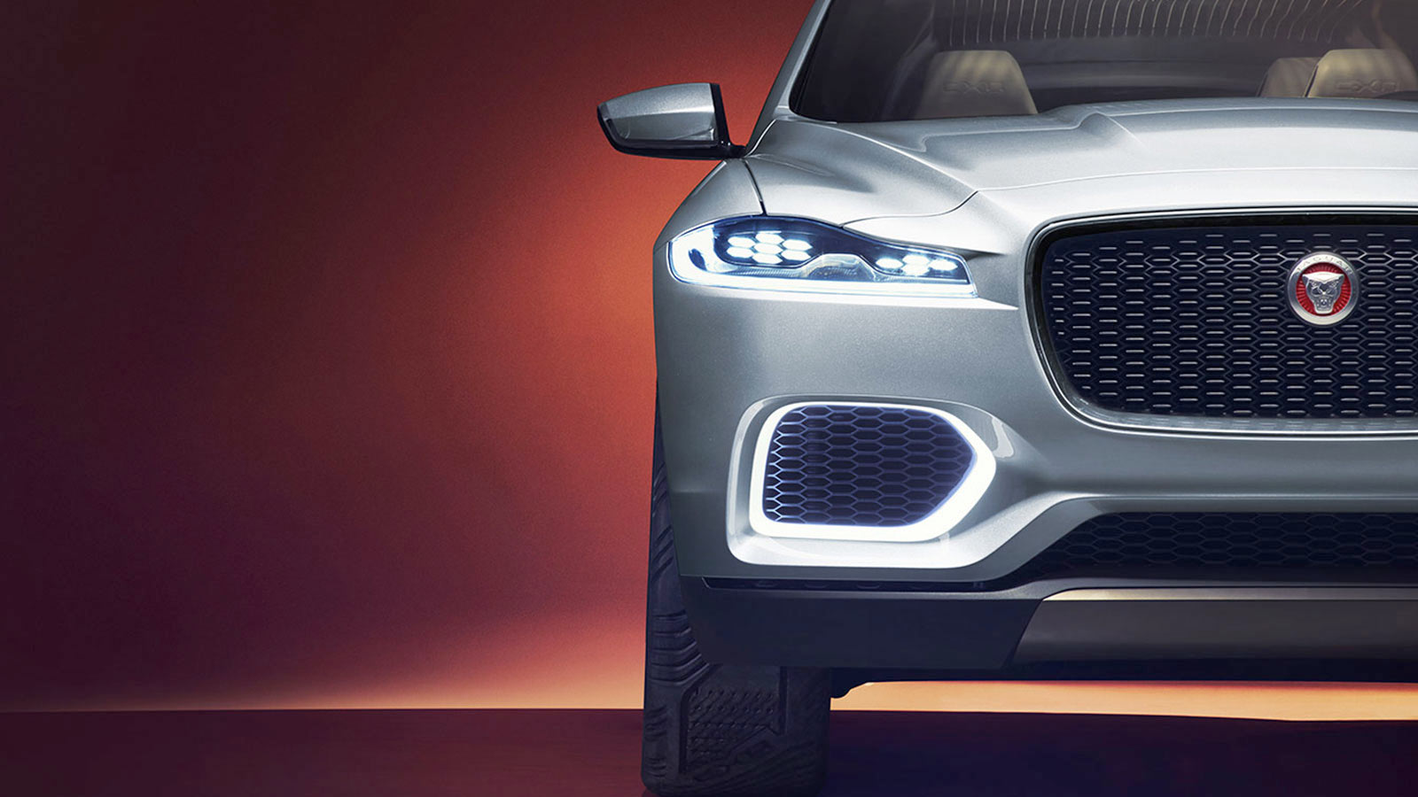 Close up shot of the Jaguar C-X17 grille.