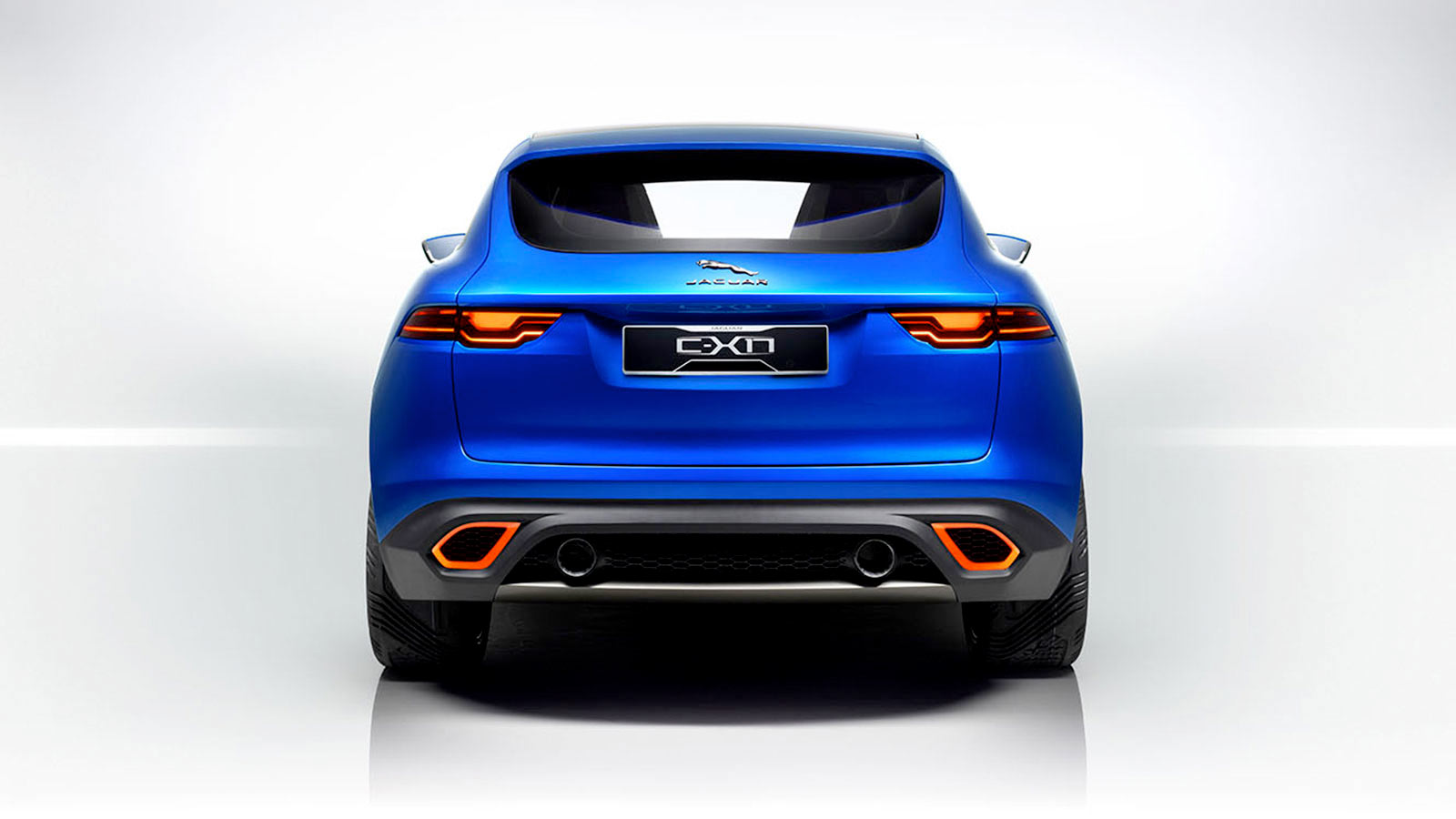 Rear shot of the Jaguar C-X17 in blue.