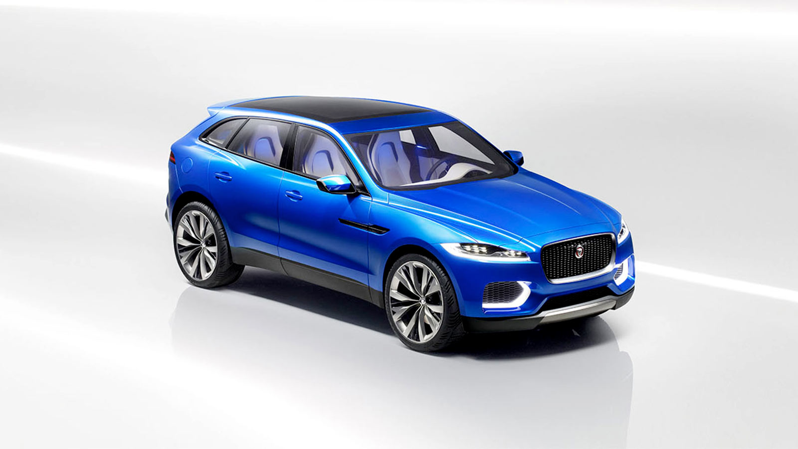 Front three-quarter shot of the Jaguar C-X17 in blue.
