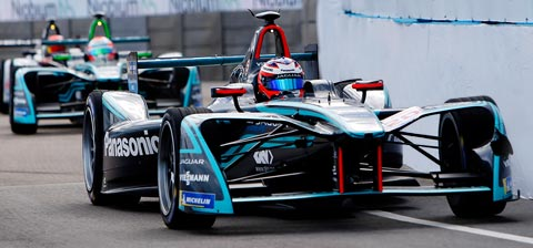Jaguar Racing Formula E Car on track